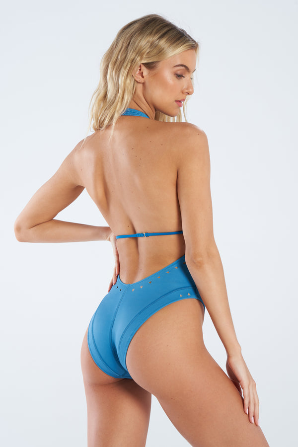 Blue One Piece Swimsuit, Gigi C Bikinis, Women's Bathing Suit, Cutouts
