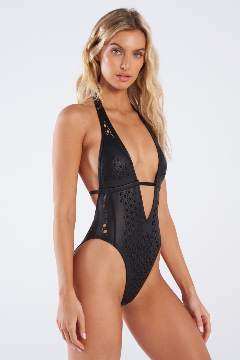 Black Leather One Piece Swimsuit, Gigi C Bikinis, Leather Cutouts
