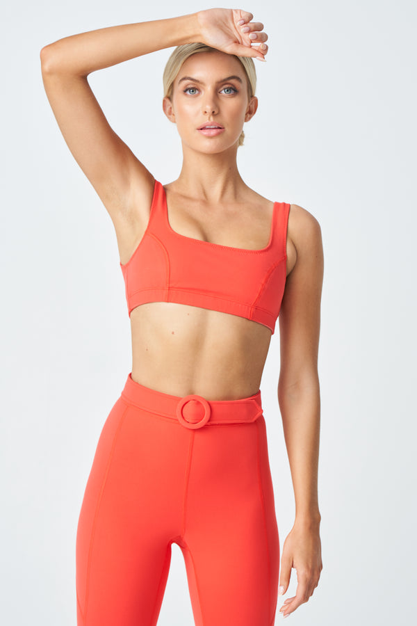 Annie Sports Bra in Coral Red