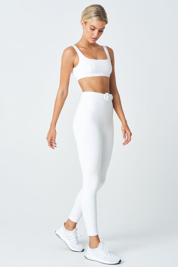 Monroe Legging In Ivory White with Ivory White Belt