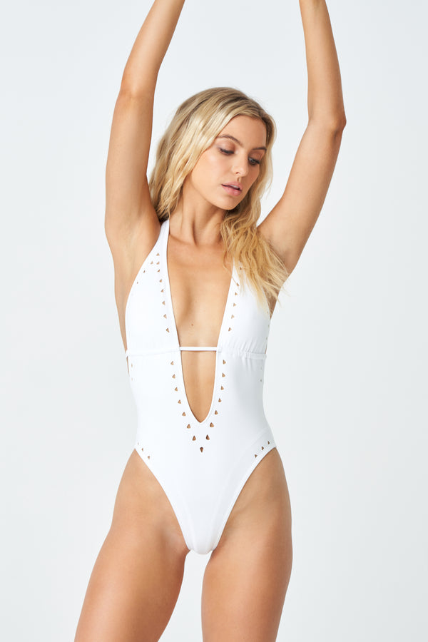 Carrie One Piece Swimsuit in White Scuba