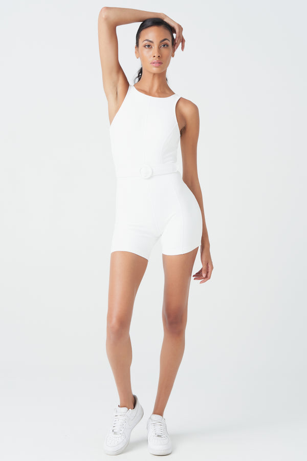 Gia Active Romper in Ivory White with White Belt