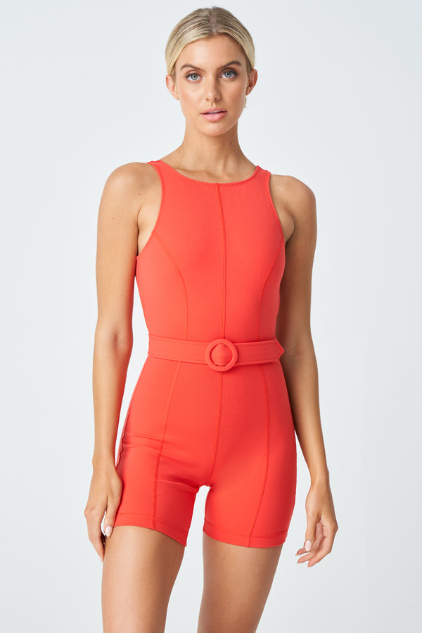 Gia Active Romper in Coral Red