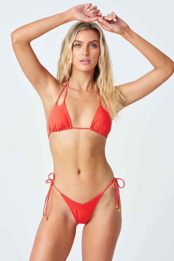Hadley Bikini Top in Coral Red