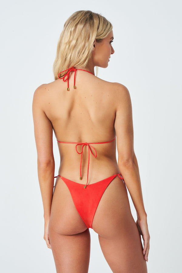 Hadley Bikini Bottom in Coral Red