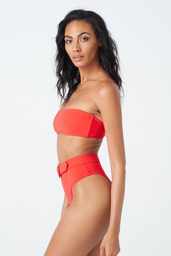 Tyler Bikini Top in Coral Red