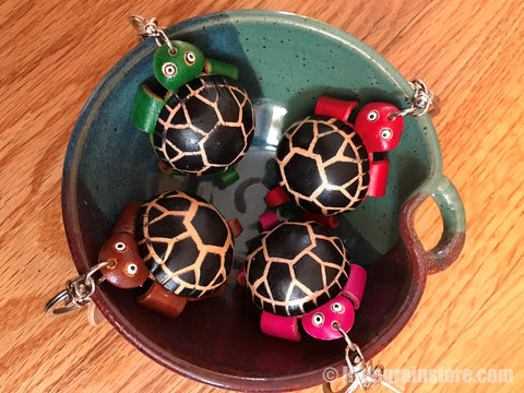 Hand Crafted Land Turtle Key Chain ( Pink, Brown, Green, Red)
