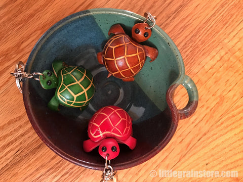 Hand Crafted Land Turtle Key Chain ( Pink, Brown, Green)