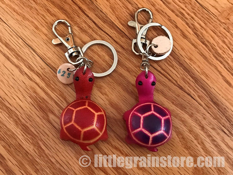 Hand Crafted Leather Baby Turtle Key Chain (Red, Pink, Green)
