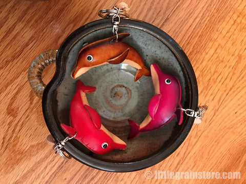 Hand Crafted Leather Dolphin Key Chain (Brown, Red, Pink)