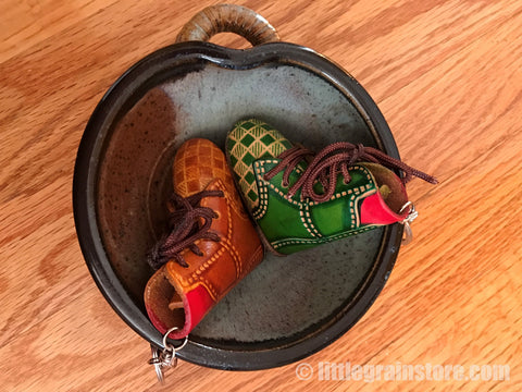 Hand Crafted Leather Boot Key Chain (Brown, Green )