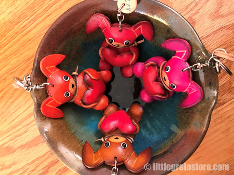 Hand Crafted Leather Dog Key Chain (Red, Pink, Orange, Brown)