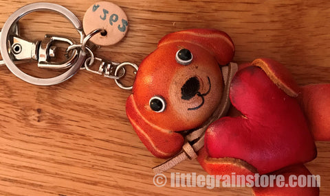 Hand Crafted Leather Dog1 Key Chain (Orange)