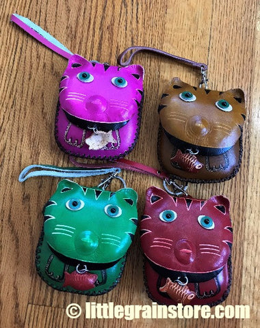 CAT CHANGE PURSE HAND CRAFTED LEATHER