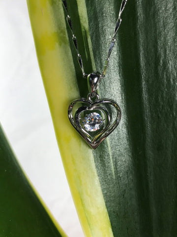 Floating stone Necklace Heart