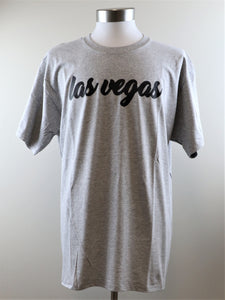LAS VEGAS SCRIPT TEE IN GREY - 3 FOR $12.00