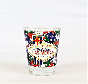 Las Vegas Welcome Sign with Gambling Chips Shot Glass