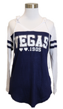 Ladies Las Vegas long sleeve hoodie in Blue