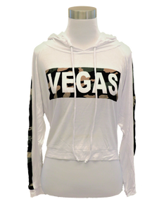 Ladies Las Vegas Camo Stripe Hooded Crop Top