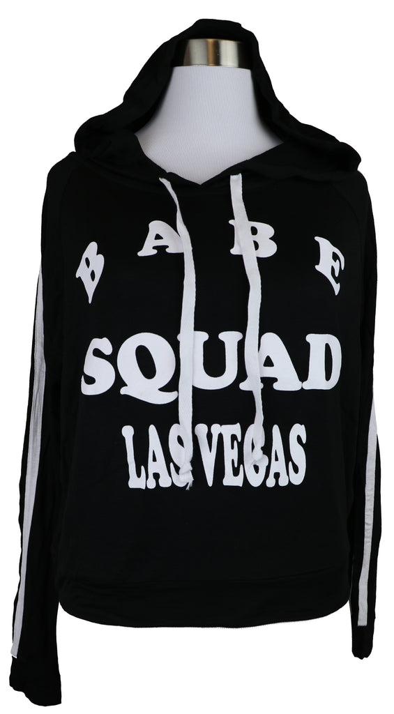 Ladies Long Sleeve Babe Squad Black And White Hoodie