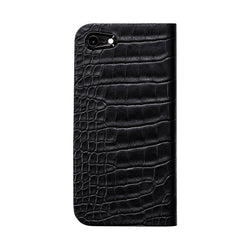 Alligator Leather ケース for iPhone 7(Black 黒) - Book Type