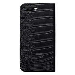 Alligator Leather ケース for iPhone 7 Plus (Black 黒) - Book Type
