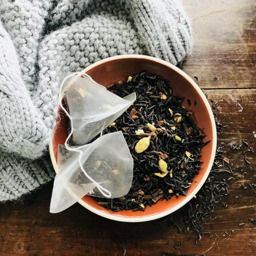 Chai Tea bags in brown bowl