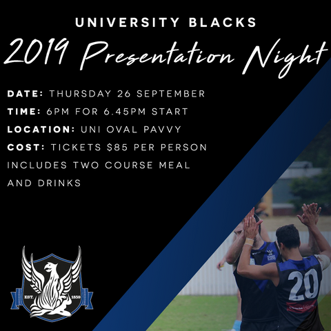 Uni Blacks Presentation Night 2019