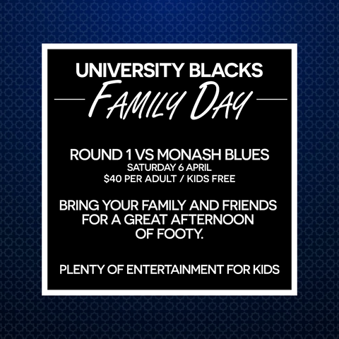 Uni Blacks Family Day - April 6th
