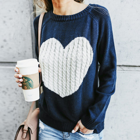 Regular O Neck Long Sleeve Sweater Heart Patchwork Winter Thin Knitwear Pullover Women Invierno 2018