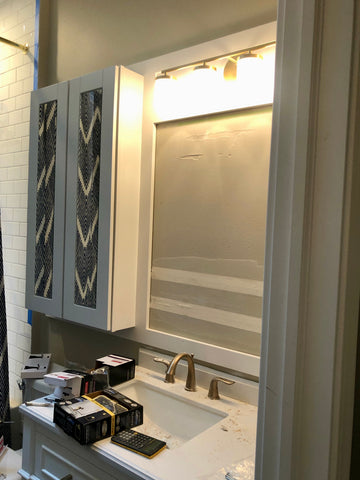 custom wall surround cabinets in place