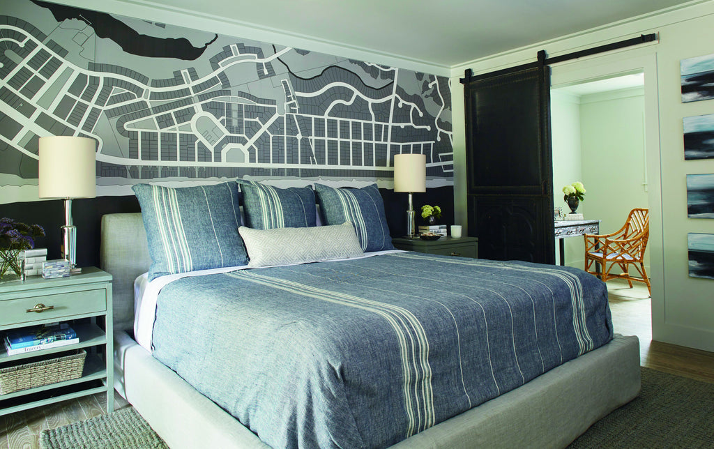 Masculine Modern Bedroom This And Is A Mix Of Smoky Blues Grays For Highly Personal Comfortable Retreat