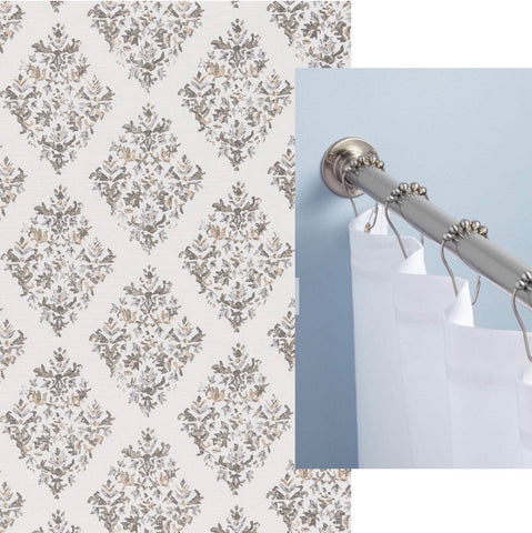 Lacefield fabric and heavy duty shower rod