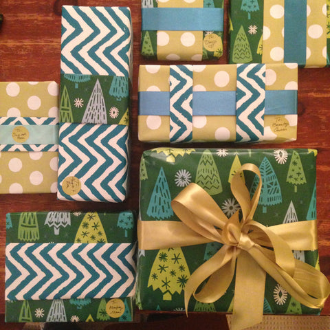 Blue and green holiday Christmas packages
