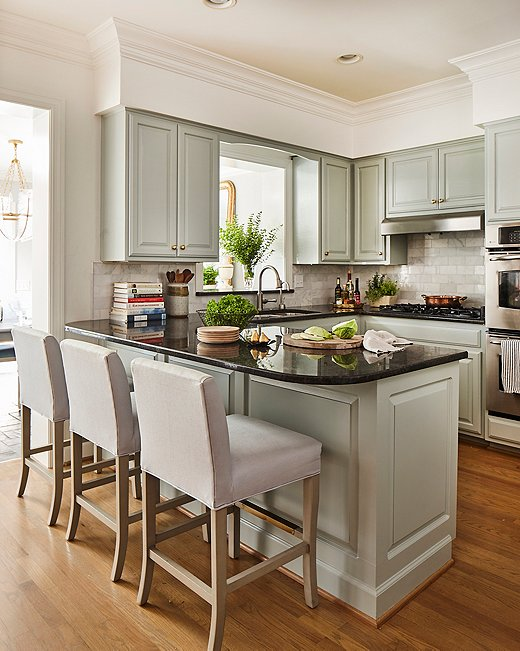 Soft Gray Green Kitchen