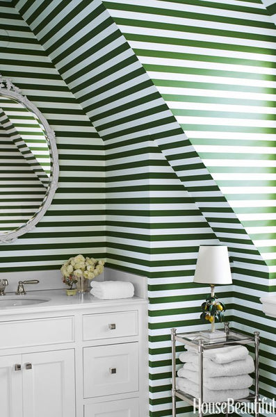 Ruthie Sommers Striped Wallpaper Bathroom Green Nest Interior Design