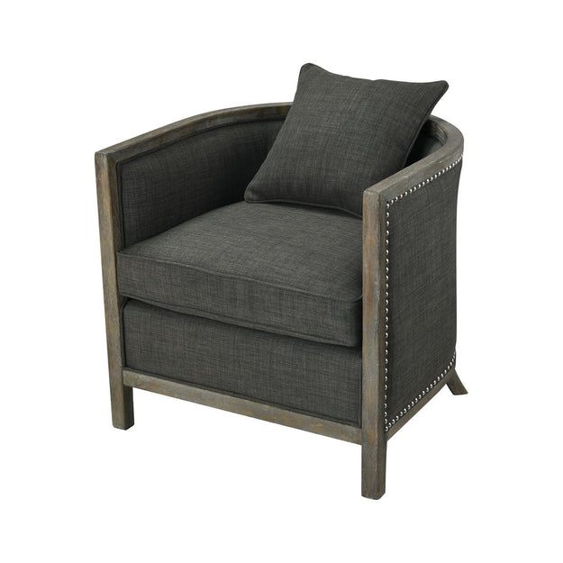 Grey Wood Club Chair
