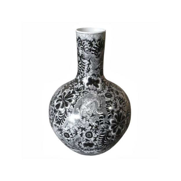 Black & White Globular Vase