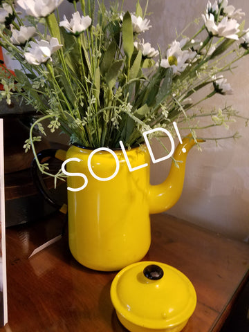 Vintage Yellow Coffee Pot with Lid