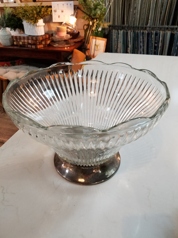 Vintage Faceted Bowl with base