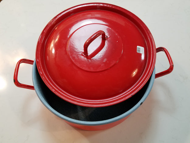 Vintage Red Pot with Lid