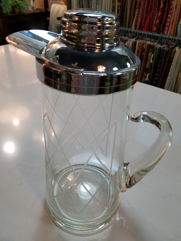 Vintage Crystal Etched Pitcher
