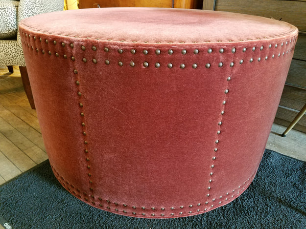 Terrific Vintage Mohair Round Ottoman Caraccident5 Cool Chair Designs And Ideas Caraccident5Info