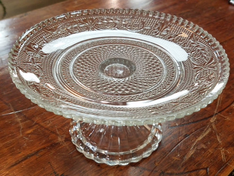 Vintage Glass Cake Plate - Small