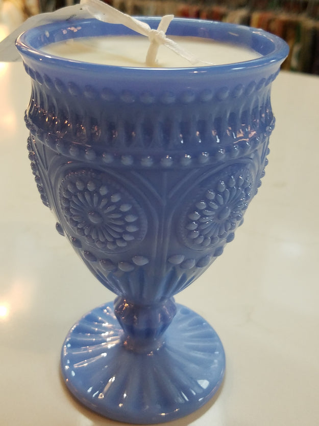 Vintage Inspired Jadeite Blue Goblet with Candle