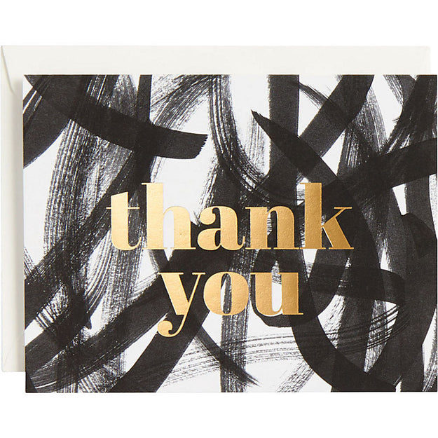 Gold Foil Black Scribble Thank You Notecard Set