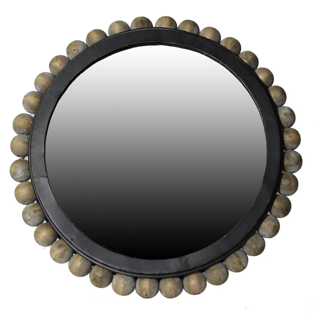 Circular Mirror with wood beads