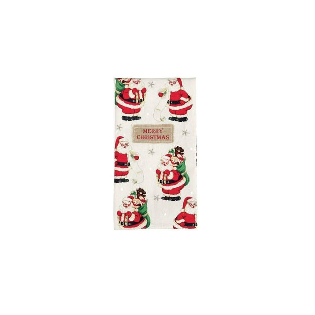 Merry Christmas Vintage Santa Tea Towel