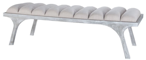 Grey Split Leg Upholstered Bench