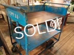 Vintage Blue Industrial Rolling Cart